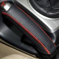 XUJI Black Genuine Leather DIY Hand-stitched Car Handbrake Cover for Honda Civic Old