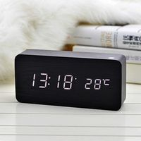 AOJE Antique Desktop Clocks With Digital Wooden Bamboo