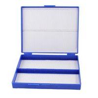 Royal Blue Plastic Rectangle Hold 100 Microslide Slide Microscope Box
