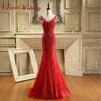 iLoveWedding Red Long Mermaid Prom Dress 2017 Party Dresses