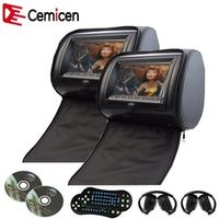 Cemicen 2PCS 7 Inch Car Headrest Monitor DVD Player Digital Screen with USB/SD/IR/FM
