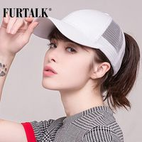 FURTALK 2018 Ponytail Baseball Cap Women Messy Bun Hat