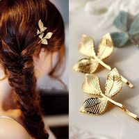 TS283 Elegant Europe and America Vintage Side Clip Leaves Hairpins Hair Jewelry Wholesale Accessories For Women