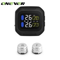Onever Motorcycle TPMS Tire Pressure Monitoring System 2 External Sensor Wireless