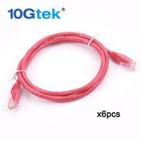 10Gtek CAT6 UTP Patch Cord RJ45 Network Cable Red 1meter 3.3 Ft 24AWG pack 6 For