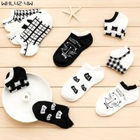 5 pairs/lot spring and summer Sock Slippers woman Cartoon cat Leisure girl cute socks cheap meias calcetines Short ankle socks