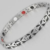 Fashion 4 In 1 Bio Butterfly Magnetic Care Healing Energy Stainless Steel Health Bracelet Benefit Bangle Women Female Jewelry