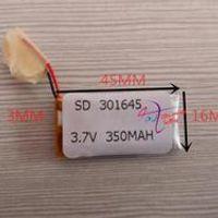 3.7V polymer lithium battery 301645 350MAH MP3 sound recording Bluetooth earphone