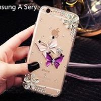 DIY for Samsung A9 A8 A7 A5 2015 2016 Glitter Rhinestone Diamond Butterfly cover case High Clear Acrylic coque Neck Lanyard