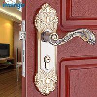 An Interior Room Bedroom Kitchen Mechanical Locks Interior Door Lock Set Wood Door Handle Tongue Alloy with Key and Lock Body