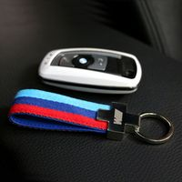 WMMWMD Nylon Leather belt Key Ring Keyring Keychain Germany Flag Key Chain For BMW