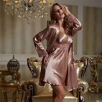 Twinset Women Nightgowns Emulation Silk Robe Sets V-neck Lace Nightdress Full Sleeve Solid Sleepwear Big Size Free Shipping 8207