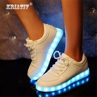 Slippers Led Kids Lighting Up Shoes Girls Boys Trainers Children Shoes with Light with USB Luminous Sneakers Glowing Shoes White