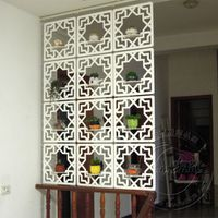 Carved wood glove entranceway office partition ivory white