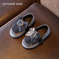 CCTWINS KIDS 2017 Autumn Bow Pu Leather Infant Brand Black Flat Baby Girl Fashion Gray Slip On Toddler Buckle Green Shoe G1316