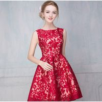 Vogue of new fund of shoulders sleeveless lace short bridesmaid dresses