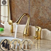 MYQualife Deck Mounted Widespread 3pc Bath Tub Faucet Brass Handshower Goose Neck
