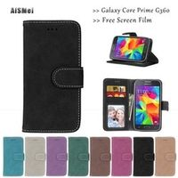 "AiSMei 4.5"" Funda Wallet Leather Case for Coque Samsung Galaxy Core Prime G360 g360h sm-g360 g360f G361 g361h g361f sm-g361"