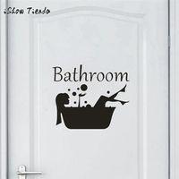 ISHOWTIENDA Bathroom Wall Sticker Letter Removable Toilet