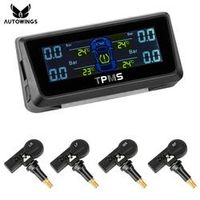 AUTOWINGS Car TPMS Tire Pressure Monitoring System With 4 Internal Sensor Solar