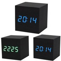 Aimecor 1PC Black Wood Desk Alarm Brown Display Digital