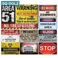 SQ-DGLZ BEWARE OF ZOMBIES AREA 51 Metal Wall Tin Sign