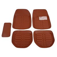Gallocabe 5pcs Brown Auto Carpet Foot Pad Driving Vehicles All-Weather Universal