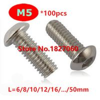 100pcs M5 Series A2 Stainless steel Button Head Hex Socket Cap Screw / Round Mushroom head Bolts M5*6/8/10/12/16/20.../50mm