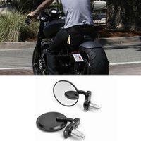 "evomosa MOTORCYCLE BLACK 3"" ROUND 7/8"" HANDLE BAR END MIRRORS CAFE RACER BOBBER"