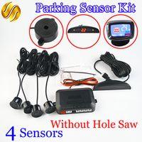 Car Parking Sensor Kit No Hole Saw Buzzer LED / LCD Display Backup Radar Monitor