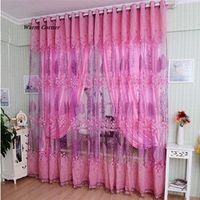 LM Modern Room Leaf Floral Tulle Window Screening Curtain