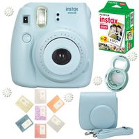 Fujifilm Instax Mini 8 Camera Blue + Fuji 20 Photos Instant Mini Plain White Film + Free Accessories Close up lens,  Album, Case