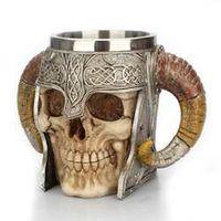Ram Pit Lord Warrior Stainless Steel Skull Goat Horn Resin Viking Tankard Coffee Beer