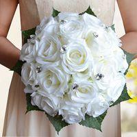 Hot Sale 18 pieces of rose flower 3 color Artificial Bride Hands Holding Rose Flower Wedding Bridal Bouquet buque de noiva