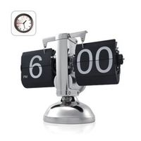 Black Retro Down Clock-Internal Gear Operated Flip Home