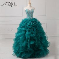 ADLN Sweetheart Sleeveless Turquoise Gown 15 Dress