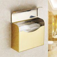 Golden Finish Toilet Paper Holder waterproof Design/Stainless steel Paper Towel Holder/Fashion Roll Holder ,Bathroom tissue box