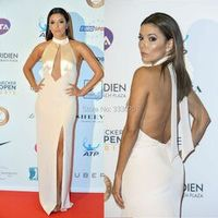 Long Fitted High High Slit Champagne Satin Chiffon Eva Longoria Dress Sexy Celebrity Red Carpet  Backless Evening Gown