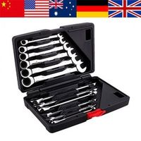 WALFRONT 12pcs Ratchet Handle Fixed Head Combination Spanner Sets Hand Tools Kit Gear