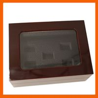 Promotion Clear Top  Wooden Boxes 5 Holes Rings Position With Plastic Transparent Championship Ring 5 Holes Rings Boxes