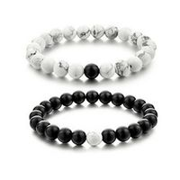 2 Pcs New Fashion  White and Black Natural Stones Couple Bracelets In Charm Beads Lovers Bracelets For Men and Women 8mm