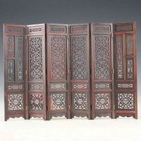 Hand-carved Chinese Boxwood Sculpture Folding Screen