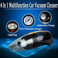 Multi-function Portable Car Vacuum Cleaner Tire Pressure Inflator 100W 12V 4 IN 1 High-Power Wet and Dry Vaccum Cleaner Lighting
