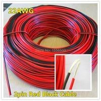 3 meters Electrical Wire Tinned Copper 2 Pin AWG 22 insulated PVC Extension LED Strip Cable Red Black Wire Electric Extend Cord