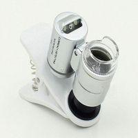 Etmakit 1Pcs Universal 3LEDs Clip Mobile Phone Microscope Magnifier Micro 60X Optical