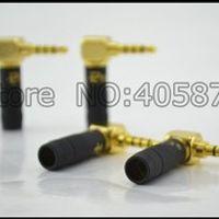 viborg 2pcs Paliccs barss Stereo 4 Pole 3.5mm Plug Angled Jack Cable Solder adapter