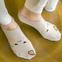 5Pairs/lot Funny Emoji Offset Printing Invisible Women Socks Ice Cream Cake Sweet Candy Color Female Short Sock cotton girls sox