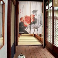 MYRU Chinese Classical Style Lotus Flowers Pattern Door Curtain Household Polyester Shade Door Curtain Partition