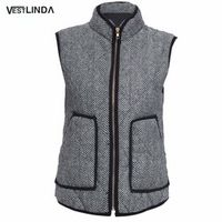 VESTLINDA Spring Women Vest Casual Big Pocket Warm Women Cotton Winter Sleeveless Zipper Jacket Female Puffer Herringbone Vest