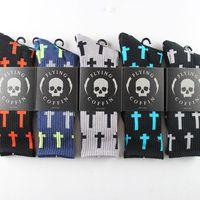 24pcs=12pair NEW cotton men's 5 colors U pick flying coffin skull cross men Walking terry Socks 12pair/lot